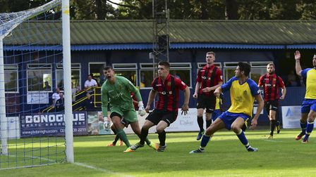 Tom Gardiner fires St Albans City level for the second time against Gloucester City. Picture: BOB WA