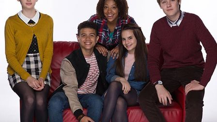 Samuel Small (second to left) with the So Awkward cast.