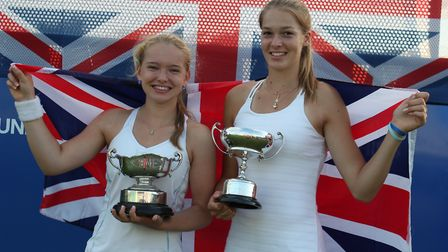 Kira Reuter (right) with doubles partner Holly Staff after they won the British Junior Girls 16 & Un