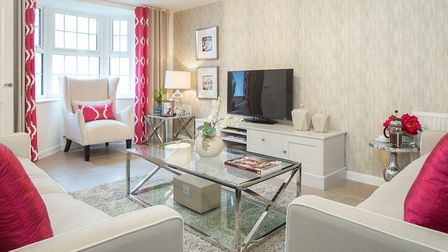 This bright living room is from the show home at the Canterbury Park development, near Ware