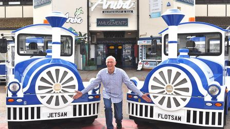 Andrew with the land trains he named, Flotsam and Jetsam.