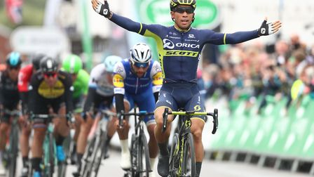 Orica Scott's Caleb Ewan takes the victory on stage six of the Tour of Britain in Aldeburgh. Picture