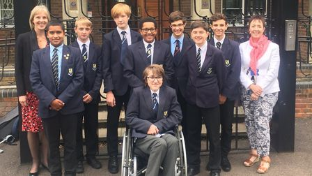 The Verulam boys who took the Latin exam, with Mary Bienfait and BeauSandVer community links adminis