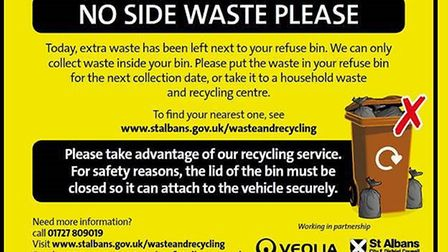 The notice St Albans council will be issuing about side waste.