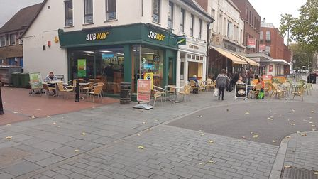 Subway and Cafe Roma on St Peter's Street, neither of which have a pavement licence for the chairs a