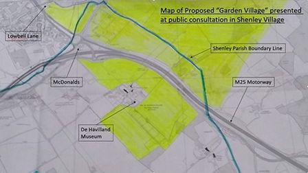 A photo of the areas which will be affected if the proposals for the London Colney Garden Village go