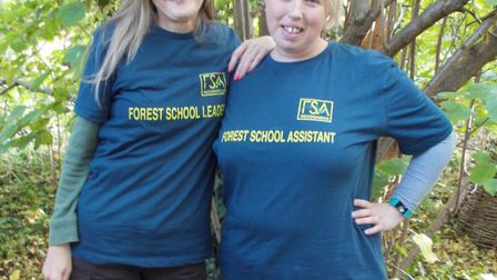 Left is Linda Rowley, Forest School leader and Tricia Salerno – Forest School assistant.