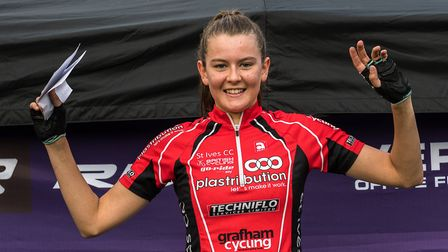 Cecilia Hime of St Ives Cycling Club is making a habit of winning Central League races. Picture: KEI