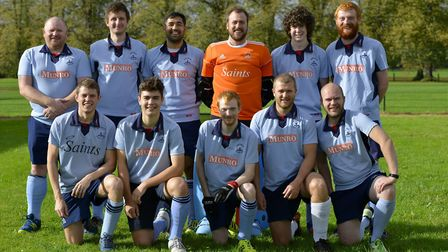 St Neots Men's 1sts are back row, left to right, Iain Moor, Wes Cole, Anthony Holmes, Ben Seaber, Ja