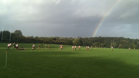 A rainbow appears over Cobden Hill as Tabard hosted Harpenden in London NW3.