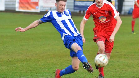 Jack Warwick of Eynesbury Rovers, who are one of the local teams playing in the Hinchingbrooke Cup t