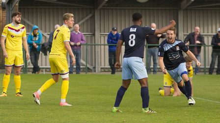 Johnny Herd celebrates after scoring for St Neots Town against Weymouth. Picture: CLAIRE HOWES