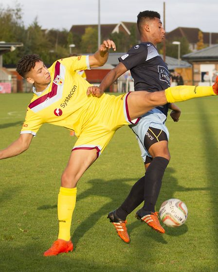 Dion Sembie-Ferris of St Neots Town in action against Weymouth. Picture: CLAIRE HOWES
