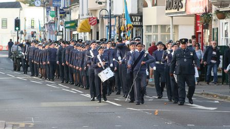 Cadets marching through St Neots.