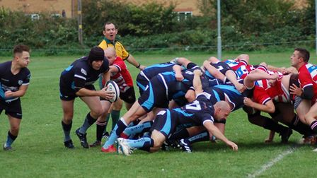 Phill Fernie (holding the ball) scored two St Neots tries. Picture: CAROL BERWICK