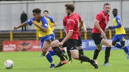 Zane Banton scored St Albans City's only goal as they lost 3-1 to Boreham Wood in the FA Cup. Pictur