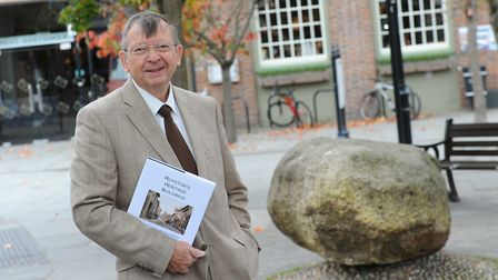 Royston author Peter Ranson at the Royse Stone with his new book. Picture: Steve Bond