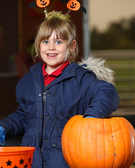 Anwen has a go at carving a pumpkin at Willows farm. Picture: Danny Loo
