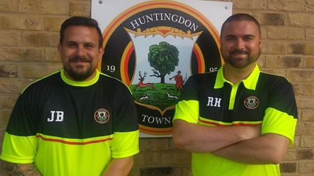 Ryan Hunnings (right). has been sacked by Huntingdon Town. Jimmy Brattan (left) is now in sole charg