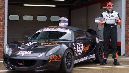 Sam Tomlinson pictured with his car at Brands Hatch earlier this year. Picture: SNAPPY RACERS