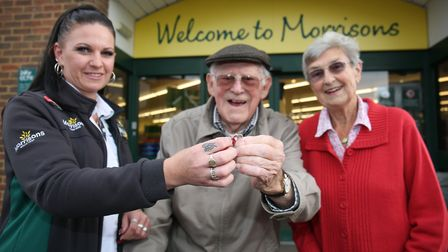 Morrisons Kathy Land reunites Claude and Rita Browne with Claude's wedding ring after it was lost an