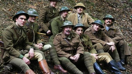 The cast of Journey's End in the Devil's Dyke. Picture: Danny Loo