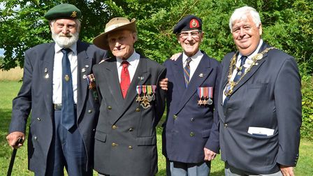 [Left to right:] Reg Lewis, Richard Day, Reg Cox, Cllr Geoff Harrison [Left to right:] Re