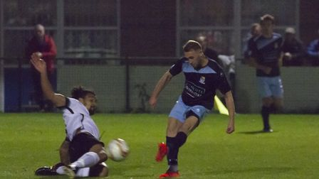 Ryan Horne equalises for St Neots Town against Royston. Picture: CLAIRE HOWES