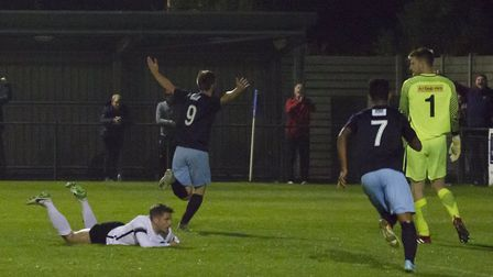 Tom Meechan sets off in celebration after putting St Neots Town ahead against Royston. Picture: CLAI
