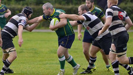 Kristian Jones scored one of Huntingdon's two late tries at Bugbrooke.