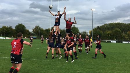 Old Albanian and Birmingham Moseley challenge for a line-out but it was the midlands team who took t