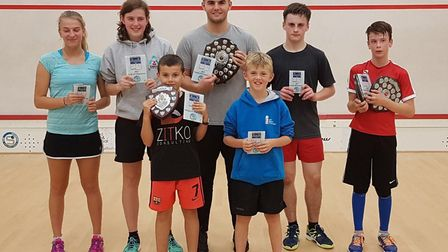 Some of the finalists at the Cambridgeshire County Closed Junior Championships are, back row, left t