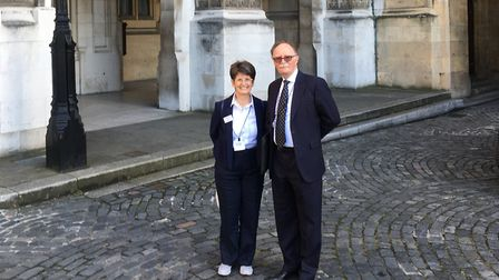 Maggie Allen and Peter Franks outside Parliament.