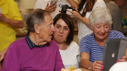 Residents of Margaret House trying out new app myPlayLife. Picture: Danny Loo
