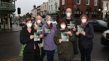 Cllr Simon Grover (back right) with other Green Party members who are concerned by air pollution in