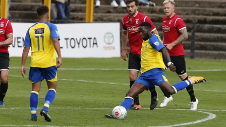 Rhys Murrell-Williamson prepares to fire the ball towards goal. Picture: LEIGH PAGE