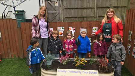 Trinity preschool kids and Bunnings at the planting day.