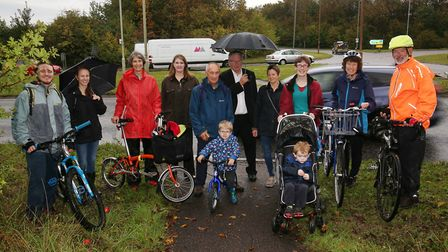 County councillor Susan van de Ven with cycle campaigners by the A10 after Royston Town Council agre