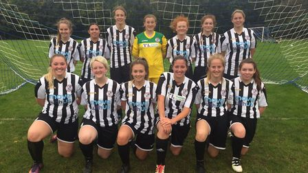 The new St Ives Town Ladies Development team pictured ahead of their first game. They are back row,