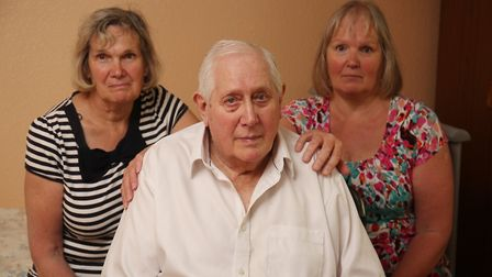 William Hilton with his daughters (L-R) Linda Rose and Tina Hilton has had to wait up to three hours