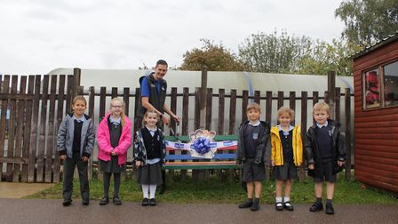 Phil Palmer unveiling the Skyswood buddy bench.
