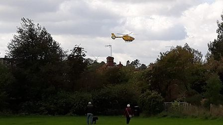 The air ambulance taking off from Harpenden earlier today. Photo: PAUL FREEMAN