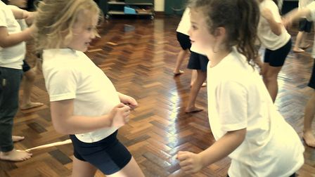 Studlands Rise First School Year 2 pupils Kayla Kirkpatrick and Beth Solder-Timbers taking part in t