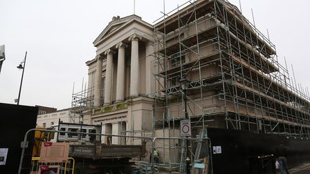 Scaffolding around the old town hall as it is transformed into the new museum and gallery. Photo: DA