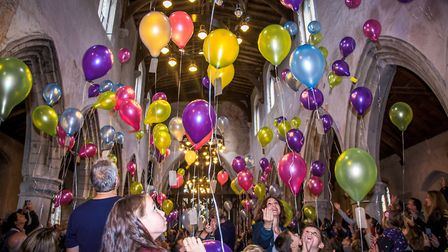 Balloon release in St Leonard's Church. Picture: Sophie Lechner King