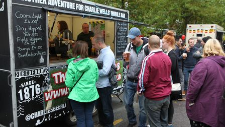 The Jolly Sailor pub van serves drinks to the food festival visitors.Picture: Craig Shepheard