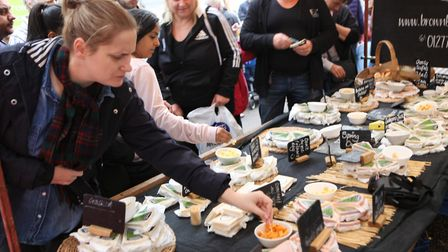 Visitors tried out the free cheese samples at the St Albans Food and Drink Festival 2017Picture: C