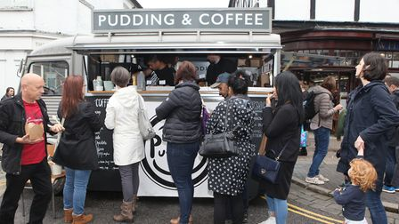 A queue for the Pudding Shop coffee van.Picture: Craig Shepheard