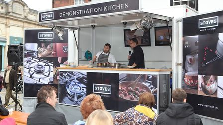 Phil Thompson (L) performing a cookery masterclass during the St Albans Food and Drink FestivalPi