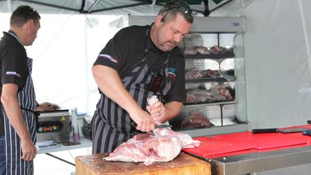 Oaklands College had a live demonstration of butchery skills which started with a whole pig being bu